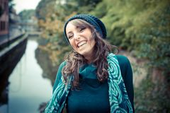 Beautiful woman with turtleneck in the city Stock Photo