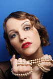 Beautiful woman in twenties style Stock Photos
