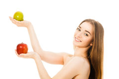 Beautiful woman with two apples isolated Royalty Free Stock Image