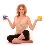 Beautiful woman with two cups Stock Images