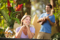 Beautiful Woman and Ukelele Performer Stock Photos