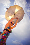 Beautiful woman  on umbrella Royalty Free Stock Photos