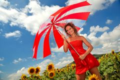 Beautiful woman with umbrella Royalty Free Stock Photography
