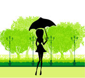 Beautiful woman with umbrella Stock Photography