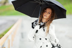 Beautiful woman with umbrella in the rain Stock Images