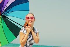 Beautiful woman with umbrella Stock Photo