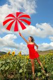 Beautiful woman with umbrella in summer Royalty Free Stock Image