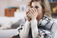 Beautiful woman under the blanket Royalty Free Stock Photography