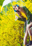 Beautiful woman under umbrella Stock Photography