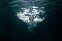 Beautiful woman under the water. stock photography