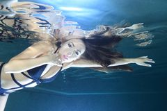 Beautiful woman underwater Royalty Free Stock Photography