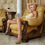 Beautiful woman in underwear in luxury interior. Royalty Free Stock Image