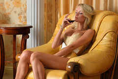 Beautiful woman in underwear in luxury interior. Royalty Free Stock Photography