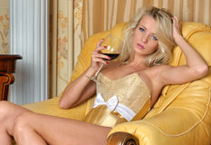 Beautiful woman in underwear in luxury interior. Stock Photography