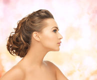 Beautiful woman with updo Stock Photos