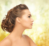 Beautiful woman with updo Stock Photo