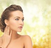 Beautiful woman with updo Royalty Free Stock Photography