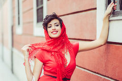 Beautiful woman in urban background. Vintage style Royalty Free Stock Photos