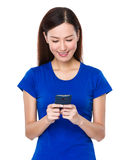Beautiful woman use of cellphone Royalty Free Stock Photo