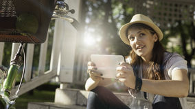 Beautiful woman using digital tablet Royalty Free Stock Photo