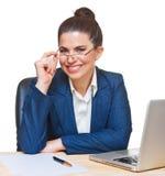 Beautiful  woman using  a glasses. Stock Photo