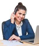 Beautiful   woman using  a headset. Stock Photo