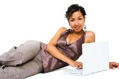 Beautiful woman using a laptop Stock Image