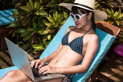 Beautiful Woman using laptop computer luxury relaxing sitting de Stock Photos