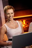 Beautiful woman using laptop Royalty Free Stock Photos