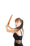 Beautiful woman using rolling pin for fight Royalty Free Stock Images
