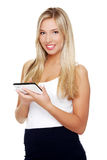 Beautiful woman using tablet computer  Stock Photos