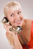 Beautiful woman using vintage phone. #2. Beautiful blond woman using vintage phone. #2 royalty free stock photography