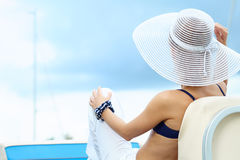 Beautiful woman on vacation Stock Images