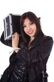 Beautiful woman with valise. White background Stock Images