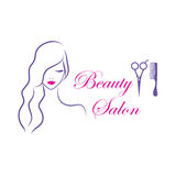 Beautiful woman vector logo template for beauty salon Royalty Free Stock Photo
