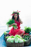 Beautiful woman with vegetables and green onions Royalty Free Stock Photos
