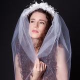 Beautiful Woman in Veil Stock Images