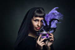 Beautiful woman with venetian carnival mask Royalty Free Stock Photos