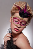 Beautiful woman in Venetian mask Royalty Free Stock Photos