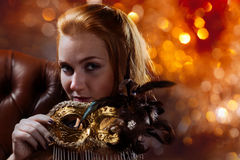 Beautiful woman with venetian mask Royalty Free Stock Photography