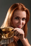 Beautiful woman with venetian mask Stock Photo