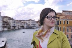 Beautiful woman in Venice Stock Images