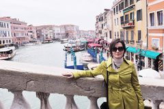 Beautiful woman in Venice Stock Photography