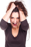 Beautiful Woman Very Aggressive Royalty Free Stock Images