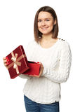 Beautiful woman very happy with the surprise inside of the red box Stock Photography