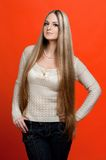 Beautiful woman with very long hair. Royalty Free Stock Photography
