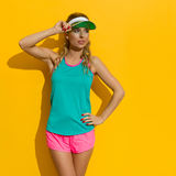Beautiful Woman In Vibrant Sport Clothes Stock Photos