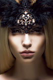 Romance. Close up Portrait of charming Woman. Victorian Style. Fantasy Stock Image