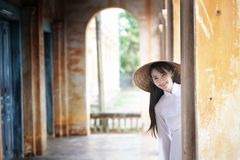 Beautiful woman with Vietnam culture traditional dress, Ao dai stock photography