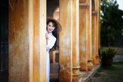 Beautiful woman with Vietnam culture traditional dress, Ao dai stock photo